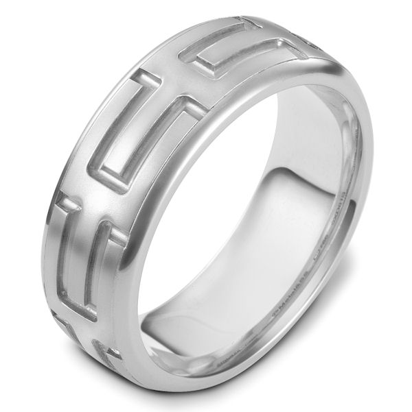 Item # 48444PP - Platinum carved, comfort fit, 8.0mm wide wedding band. The ring has a beautiful carved pattern around the whole band. The center portion is a matte finish and the edges are polished. It is 8.0mm wide and comfort fit.