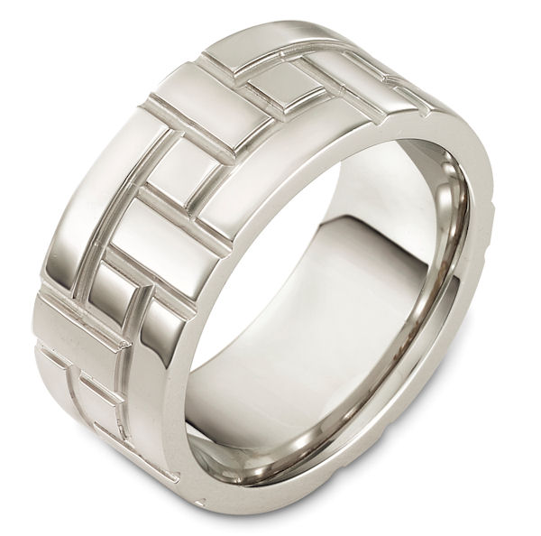 Item # 48478W - 14kt White gold carved, comfort fit, 10.0mm wide wedding band. The ring has a beautiful carved pattern around the band. It is 10.0mm wide, comfort fit, and has a matte finish. Different finishes may be selected.