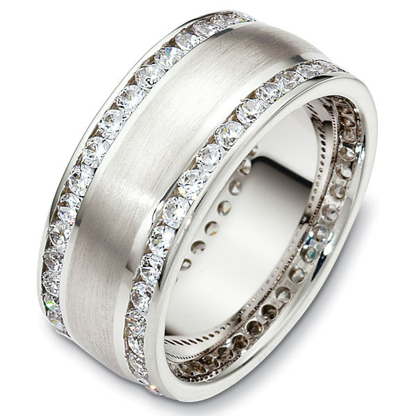 Item # 48488W - 14kt White gold diamond eternity, comfort fit, 8.5mm wide wedding band. The ring has approximately 1.90 ct tw diamonds, VS1-2 in clarity and G-H in color. There are about 76 round brilliant cut diamonds, each measures 0.025 ct. The number of stones may vary depending on the size of the ring. Larger rings will have more stones and diamond weight. Smaller rings will have less stones and diamond weight. The ring has a matte finish. Different finishes may be selected. It is 8.5mm wide and comfort fit.