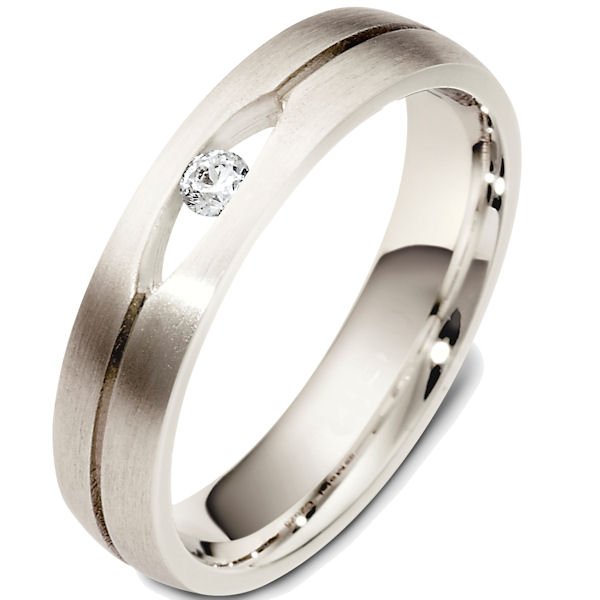 Item # 48503WE - 18kt White gold diamond, comfort fit, 5.0mm wide wedding band. The ring has one round brilliant cut diamond that weighs 0.08 ct. It is VS1-2 in clarity and G-H in color. The ring is 5.0mm wide, comfort fit, and has a matte finish. Different finishes may be selected.
