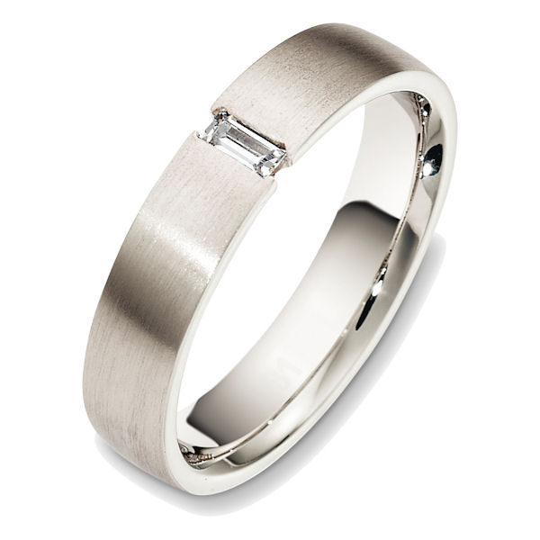 Item # 48519PP - Platinum diamond, comfort fit, 5.0mm wide wedding band. The ring holds one straight baguette cut diamond that measures 0.15 ct and has VS1-2 in clarity and G-H in color. The ring is all matte finish. Different finishes may be selected.