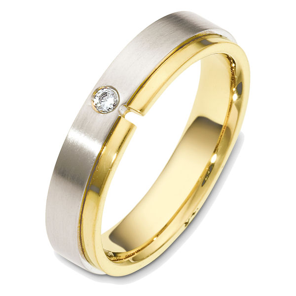 Item # 48549PE - Platinum and 18kt yellow gold diamond, comfort fit, 5.0mm wide wedding band. The ring holds one round brilliant cut diamond that is 0.05 ct, VS1-2 in clarity and G-H in color. The portion with the diamond is matte finish and the rest is polished. Different finishes may be selected.