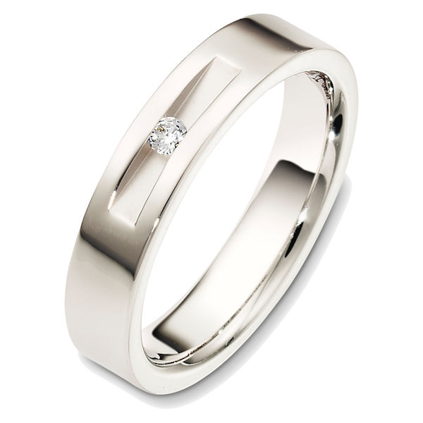 Item # 48551WE - 18kt White gold diamond, comfort fit, 5.0mm wide wedding band. The ring holds one round brilliant cut diamond that weighs about 0.06 ct, VS1-2 in clarity and G-H in color. The ring has a slight satin matte finish. Different finishes may be selected.