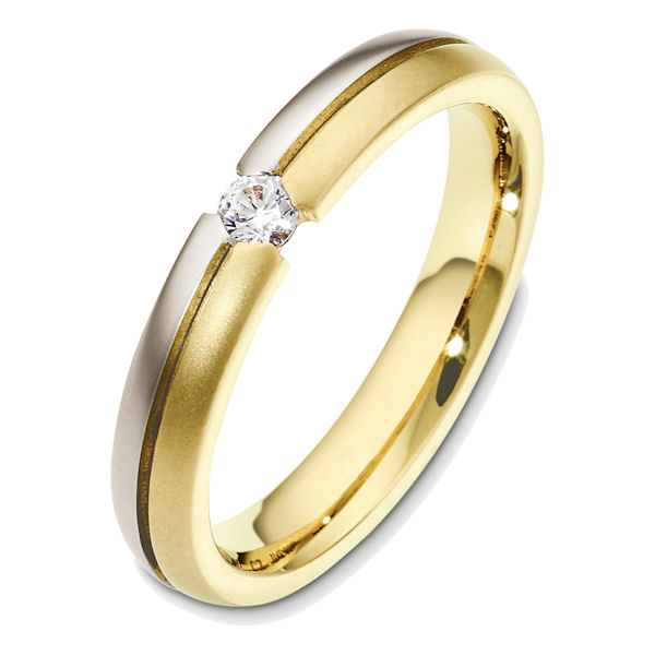 Item # 48580E - 18kt Two-tone gold diamond, comfort fit, 4.0mm wide wedding band. The ring holds one round brilliant cut diamond that is 0.18 ct, VS1-2 in clarity and G-H in color. The ring has a matte finish. Different finishes may be selected or specified.