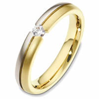 Gold 4.0mm Wide Diamond Wedding Band
