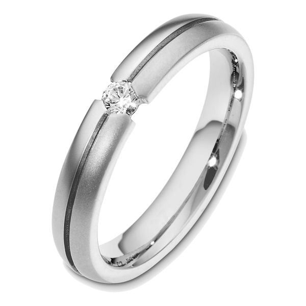 Item # 48580W - 14kt White gold diamond, comfort fit, 4.0mm wide wedding band. The ring holds one round brilliant cut diamond that is 0.18 ct, VS1-2 in clarity and G-H in color. The ring has a matte finish. Different finishes may be selected or specified.