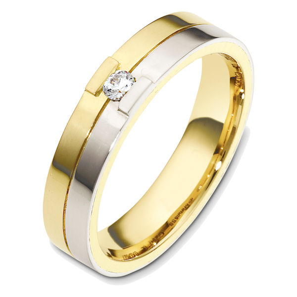 Item # 48620E - 18kt Two-tone gold diamond, comfort fit, 5.0mm wide wedding band. The ring holds one round brilliant cut diamond that is 0.08 ct, VS1-2 in clarity and G-H in color. The ring is polished finish. Different finishes may be selected.