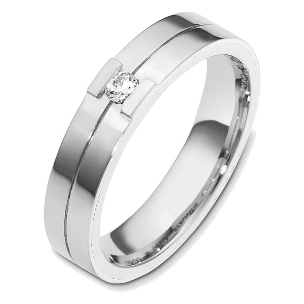 Item # 48620WE - 18kt White gold diamond, comfort fit, 5.0mm wide wedding band. The ring holds one round brilliant cut diamond that is 0.08 ct, VS1-2 in clarity and G-H in color. The ring is polished finish. Different finishes may be selected.