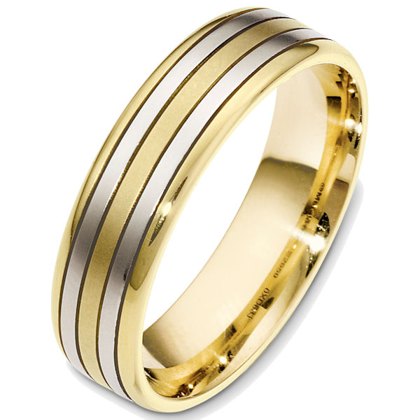 Item # 48637E - 18kt Two-tone gold classic, comfort fit, 6.0mm wide wedding band. The ring has a matte finish. Different finishes may be selected.