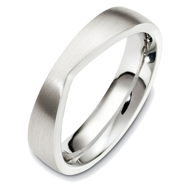 Item # 48707W - 14kt White gold contemporary, comfort fit, 5.0mm wide wedding band. The ring has unique shape for a band that could accompany an engagement ring. It is 5.0mm wide, comfort fit, and has a matte finish. Different finishes may be selected.