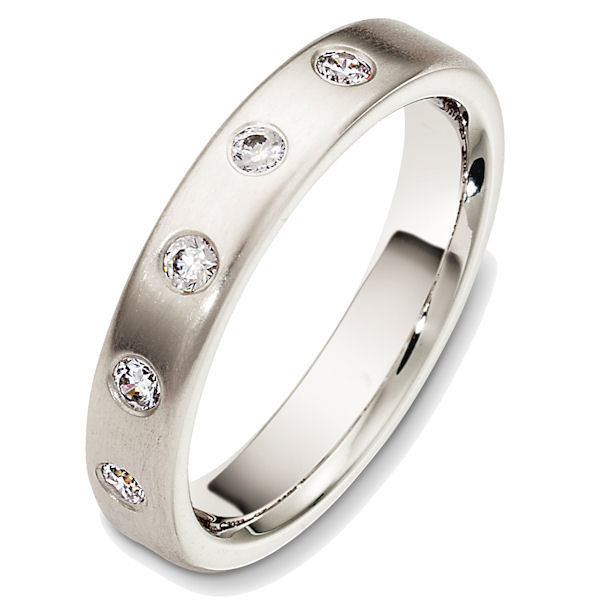 Item # 48711PD - Palladium diamond, comfort fit, 4.0mm wide wedding band. The diamonds are 0.20 ct tw, VS1-2 in clarity and G-H in color. There are about 5 round brilliant cut diamonds, each measures 0.04 ct. The ring has a matte finish. Different finishes may be selected.