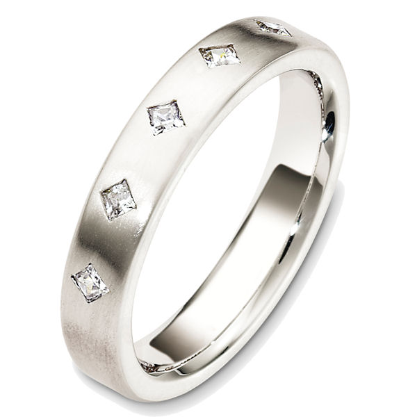 Item # 48712WE - 18kt White gold diamond, comfort fit, 4.0mm wide wedding band. The diamonds are 0.25 ct tw, VS1-2 in clarity and G-H in color. There are 5 princess cut diamonds, each measures 0.05 ct. The ring has a matte finish. Different finishes may be selected.