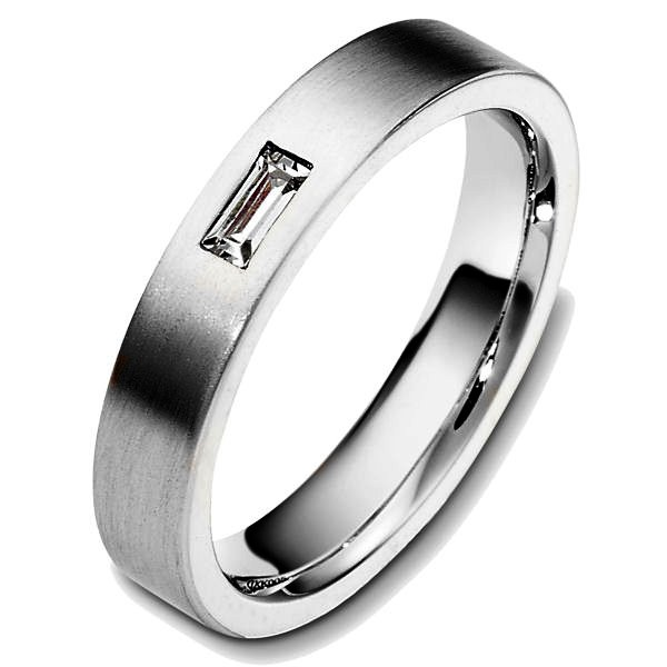 Item # 48746TI - Titanium, comfort fit, 4.0mm wide wedding band. The wedding band holds one straight baguette diamond that weighs 0.15ct
