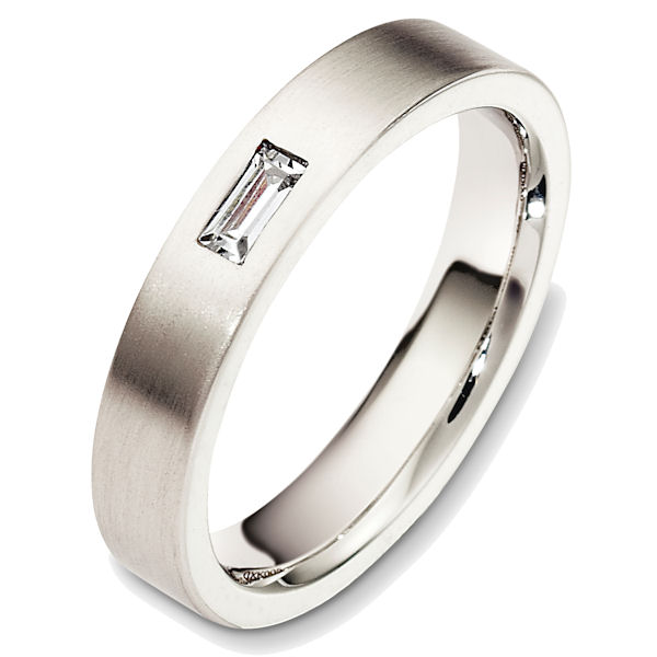 Item # 48746WE - 18kt White gold diamond, comfort fit, 4.0mm wide wedding band. The ring holds one straight baguette cut diamond that is 0.15 ct, VS1-2 in clarity and G-H in color. The ring has a matte finish. Different finishes may be selected.