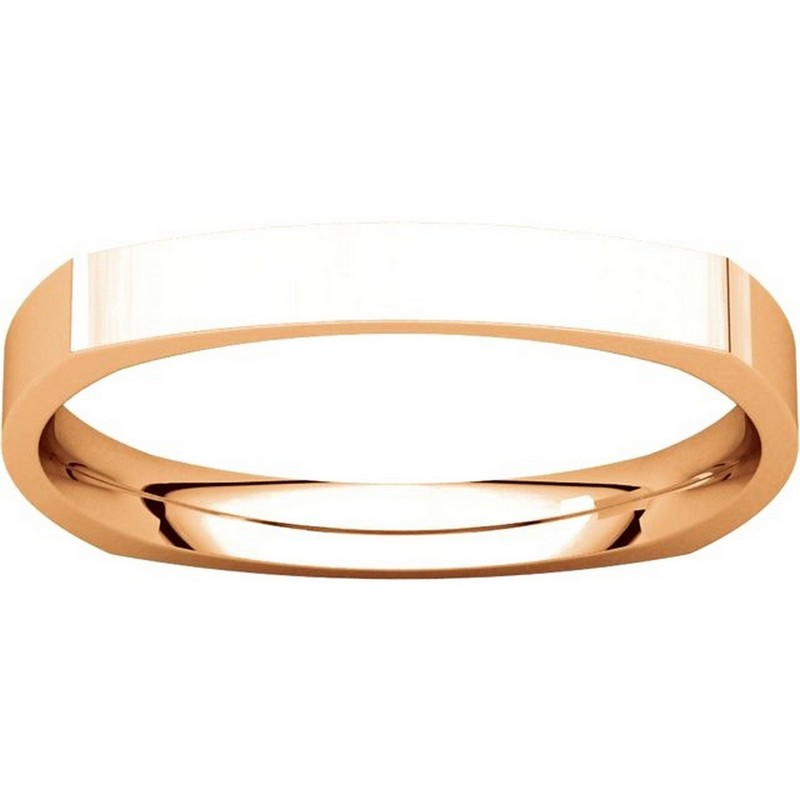 Item # 48839R View 3 - 14K Rose Gold Square Classic Wedding Ring