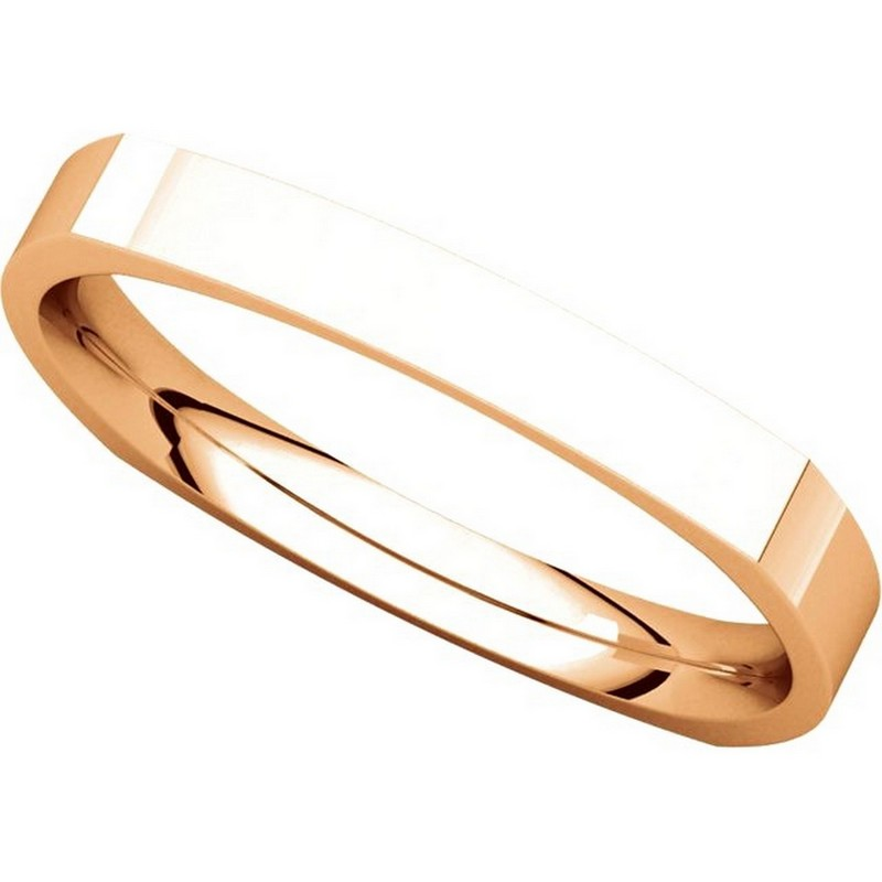 Item # 48839R View 4 - 14K Rose Gold Square Classic Wedding Ring