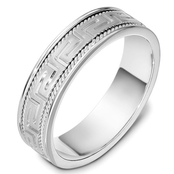 Item # 48999PD - Palladium hand crafted, carved, comfort fit, 6.0mm wide wedding band. The center of the ring is carved with a beautful greek key pattern and on each side is a hand crafted rope. The center portion of the band has a matte finish and the edges are polished. Different finishes may be selected or specified.