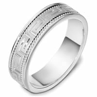 Item # 48999PD - Palladium Hand Crafted and Carved Wedding Ring