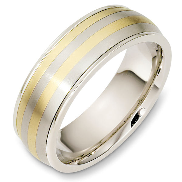 Item # 49000E - 18kt Two-tone gold classic, comfort fit, 7.0mm wide wedding band. The ring has a matte finish in the center and the edges are polished. Different finishes may be selected or specified.