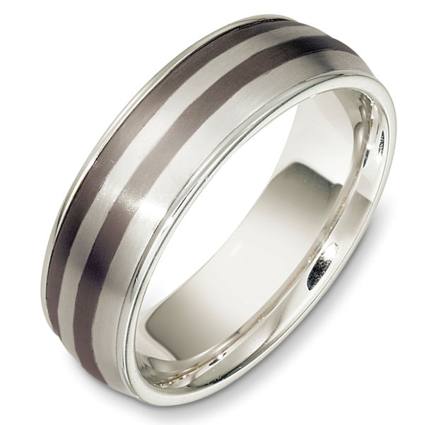 Item # 49000TG - Titanium and 14kt white gold classic, comfort fit, 7.0mm wide wedding band. The ring has a matte finish in the center and the edges are polished. Different finishes may be selected or specified.