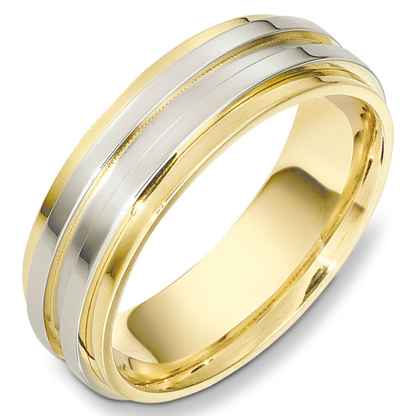 Item # 49001 - 14kt Two-tone gold contemporary, comfort fit, 7.0mm wide wedding band. The center part of the ring is matte finish and the rest has a polished finish. Different finishes may be selected or specified.