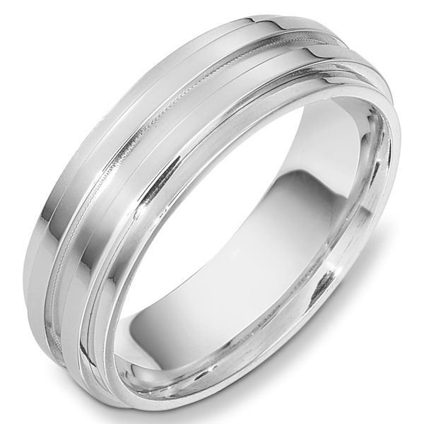 Item # 49001WE - 18kt White gold contemporary, comfort fit, 7.0mm wide wedding band The center part of the ring is matte finish and the rest has a polished finish. Different finishes may be selected or specified.