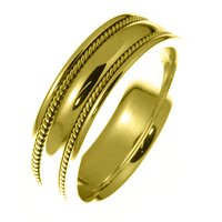 Item # 49012E - 18kt Yellow Gold Handcrafted Wedding Ring