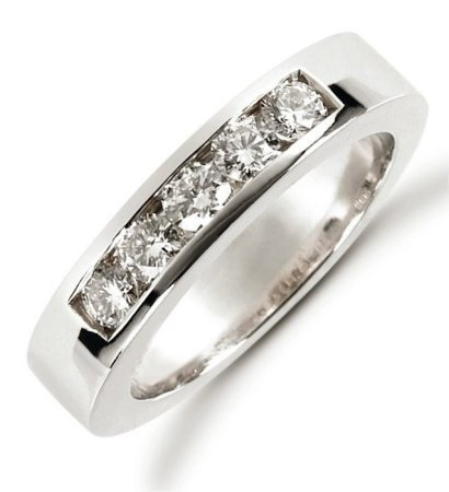 Item # 521255PP - Platinum anniversary band. The ring holds 5 round brilliant cut diamonds each measures 3.0 mm in size. The diamonds are approximately 0.50 ct tw, VS1-2 in clarity, very clean and G-H in color, near colorless to colorless. The diamonds are channel set. The band is about 4.0 mm wide. The finish is polished. Different finishes may be selected or specified.