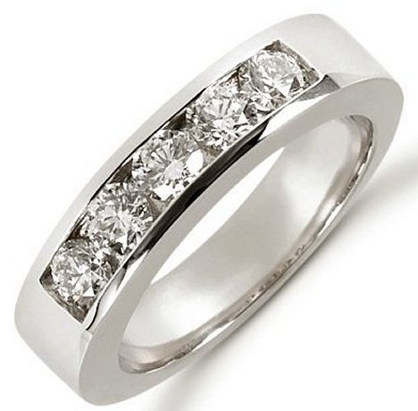 Item # 521266WE - 18kt white gold anniversary band. The ring holds 5 round brilliant cut diamonds each measures 3.8 mm in size. The diamonds are approximately 1.00ct tw, VS1-2 in clarity, very clean and G-H in color, near colorless. The diamonds are channel set. The band is about 5.0 mm wide. The finish is polished. Different finishes may be selected or specified.