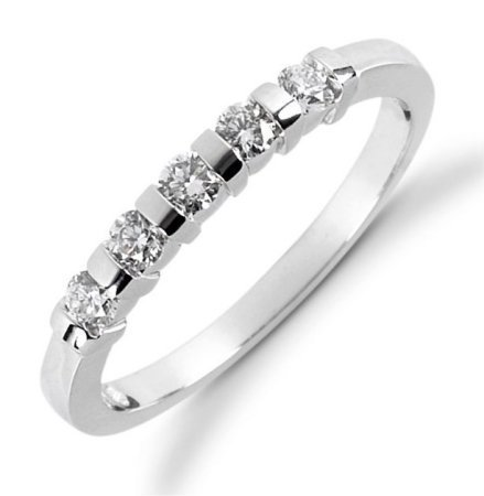 Item # 522955WE - 18Kt White gold anniversary band. The ring holds 5 round brilliant cut diamonds, each measures 2.4 mm. The diamonds are approximately 0.25 ct tw, VS1-2 in clarity, very clean and G-H in color, near colorless to coloress. The diamonds are set in single channels. The band is about 3.0 mm wide. The finish is polished. Different finishes may be selected or specified.