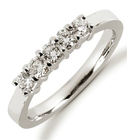 Item # 52443W - 14Kt White gold anniversary band. The ring holds 5 round brilliant cut diamonds each measures about 3.0 mm in size.The diamonds are approximately 0.50 ct tw, VS1-2 in clarity, very clean and G-H in color, near colorless to colorless. The ring is about 3.5 mm in width and each diamond is set in prongs. The finish is polished. Different finishes may be selected.