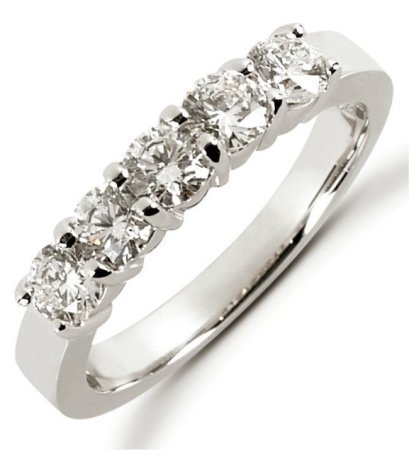 Item # 52453WE - 18Kt White gold anniversary band. The ring holds 5 round brilliant cut diamonds each measures about 3.8 mm in size. The diamonds are approximately 1.00 ct tw, VS1-2 in clarity, very clean and G-H in color, near colorless to colorless. The band is about 4.5 mm wide and each diamond is set in prongs. The finish is polished. Different finishes may be selected.