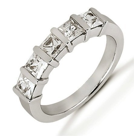 Item # 52668W - 14Kt White gold anniversary band. The ring holds 5 princess cut diamonds each measures about 3.5x3.5 mm in size. The diamonds are approximately 1.35 ct tw, VS1-2 in clarity, very clean and G-H in color, near colorless to colorless. The band is about 4.0 mm wide. The finish is polished. Different finishes may be selected.