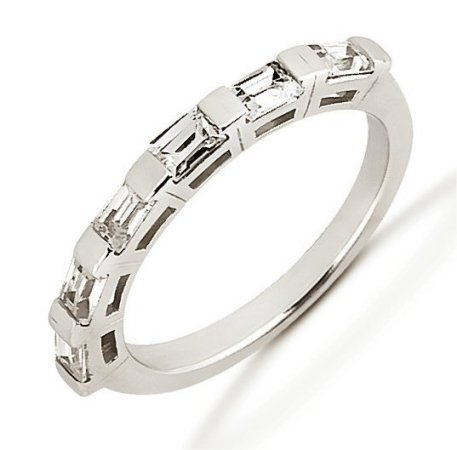 Item # 52843WE - 18Kt White gold baguette anniversary band. The ring holds 6 baguette cut diamonds each measures about 3.5x2.5 mm in size. The diamonds are approximately 0.72 ct tw, VS1-2 in clarity, very clean and G-H in color, near colorless to colorless. The band is about 4.0 mm wide. The finish is polished. Different finishes may be selected.