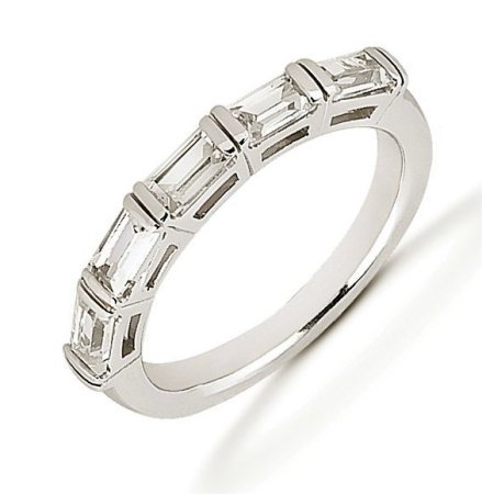 Item # 52846PD - Palladium baguette anniversary band. The ring holds 5 baguette cut diamonds each measures about 4.5x2.5 mm in size. The diamonds are approximately 0.80 ct tw, VS1-2 in clarity, very clean and G-H in color, near colorless to colorless. The band is about 3.5 mm wide. The finish is polished. Different finishes may be selected.