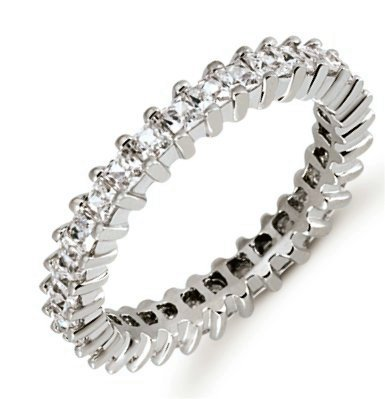 Item # 53229PP - Platinum eternity ring. The ring holds 31 princess cut diamonds each measures 2x2 mm in size 6. The diamonds are approximately 1.55 ct tw, VS1-2 in clarity, very clean and G-H in color, near colorless to colorless. The band is about 2.5 mm in width. Each diamond is set in prongs and the number of diamonds in each ring may be more for larger sizes. The finish is polished. Different finishes may be selected.