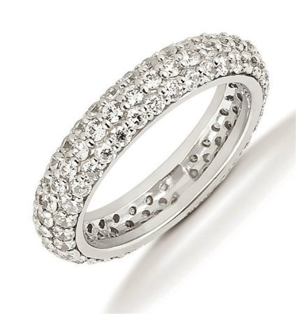 Item # 53458WE - 18Kt White gold eternity ring. Three rows of diamonds hold 34 round brilliant cut diamonds each measures 1.7 mm in size and 68 round brilliant cut diamonds that measure 1.5 mm in size. The diamonds are approximately 1.70 ct tw, VS1-2 in clarity, very clean and G-H in color, near colorless to colorless. The band is about 4.5 mm wide. Each diamond is set in prongs and the number of diamonds may be more for larger sizes. The finish is polished. Different finishes may be selected.