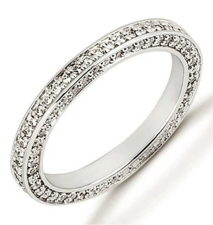 Item # 53464WE - 18Kt White eternity ring. The ring holds 143 round brilliant cut diamonds each measures 1.0 mm in size. The diamonds are approximately 0.72 ct tw, VS1-2 in clarity, very clean and G-H in color, near colorless to colorless. The band is about 3.0 mm wide. Each diamond is set in prongs and there may be more diamonds in larger size rings. The finish is polished. Different finishes may be selected.