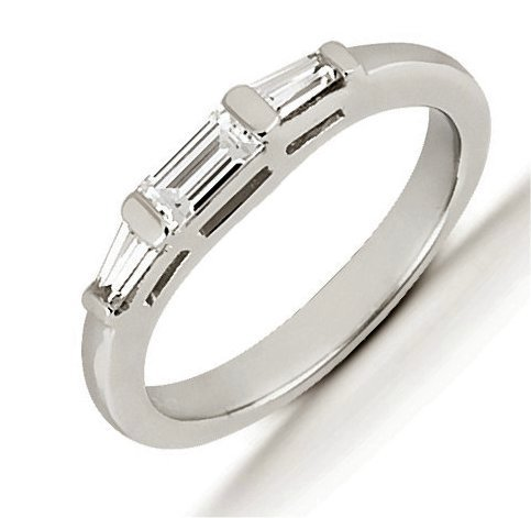 Item # 541009PD - Palladium anniversary band. The ring has 3 baguette cut diamonds, two are tapered baguettes that measure 3.75x2.25X1.75 mm. The center diamond is a straight cut baguette that measures 5x2.5 mm. The diamonds are approximately 0.47 ct tw, VS1-2 in clarity, very clean and G-H in color, near colorless to colorless. The diamonds are set in single channels. The band is about 4.0 mm wide. The finish is polished. Different finishes may be selected.