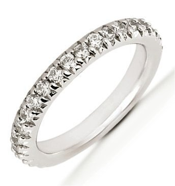 Item # 5412009PP - Platinum anniversary band. The ring holds 21 round brilliant cut diamonds, each measures 1.7 mm. The diamonds are approximately 0.42 ct tw, VS1-2 in clarity, very clean and G-H in color, near colorless to colorless. The diamonds are set in prongs. The band is about 2.5 mm wide. The finish is polished. Different finishes may be selected.