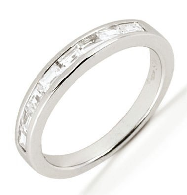 Item # 542139W - 14Kt White gold anniversary band. The ring holds 7 baguette cut diamonds, each measures 2.75x1.5 mm. The diamonds are approximately 0.35 ct tw, VS1-2 in clarity, very clean and G-H in color, near colorless to colorless. The diamonds are set in a channel. The band is about 3.5 mm wide. The finish is polished. Different finishes may be selected.