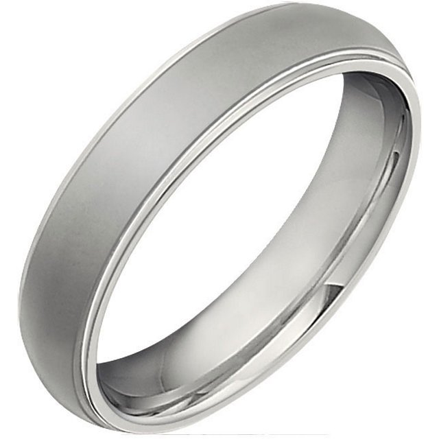 Item # 6494TI - Titanium, 5.0mm wide, comfort fit, center oxidized, polished wedding band. It is available between size 8.5.0-12.0 in half size increments