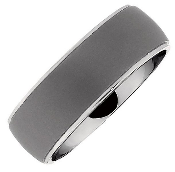 Item # 6502TI - Titanium, 7.5mm wide, center oxidized, edges polished, comfort fit wedding band. It is available between size 9.0-12.0 in half size increments.