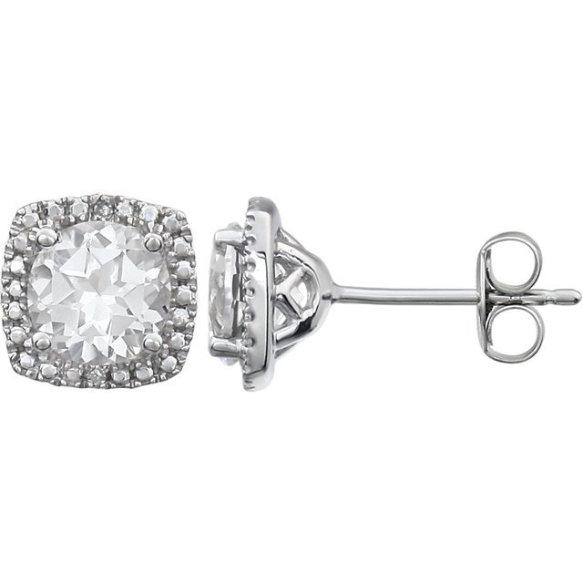 6.0 White Sapphire Diamond Earrings