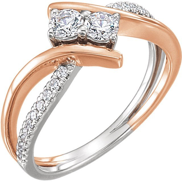 Item # 657888A - 14k white and rose gold two diamonds engagement ring. The ring holds 22 round brilliant cut diamonds with total weight of 0.13t. The ring also in the center holds two round billiant ideal cut diamonds each weighing 0.25ct. and certified by GIA as SI1 in Clarity and H. Diamond total weight in the ring approximately 0.65ct. The ring also can be made with different  size diamonds.