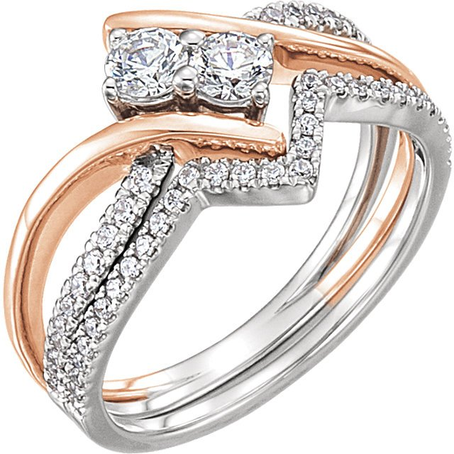Item # 657888AB - 14k white and rose gold two diamonds engagement ring and matching wedding band. The ring holds 22 round brilliant cut diamonds with total weight of 0.13t. The ring also in the center holds two round billiant ideal cut diamonds each weighing 0.25ct. and certified by GIA as SI1 in Clarity and H. The matching band holds 24 round brilliant cut diamonds with total weight of 0.20ct. Diamond total weight in the ring and the band is approximately 0.85ct. The ring also can be made with different  size diamonds.