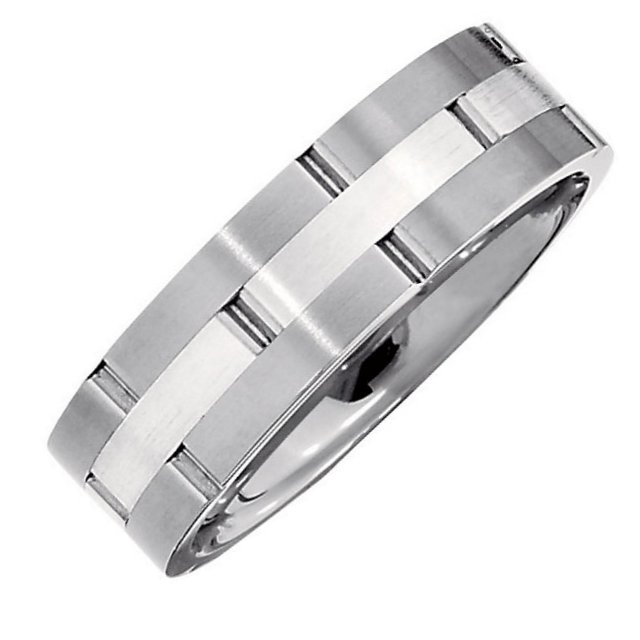 Item # 6589TI - Titanium, 7.0mm wide, comfort fit wedding band with silver inlay. It is available between size 9.0-13.0 in half size increments.