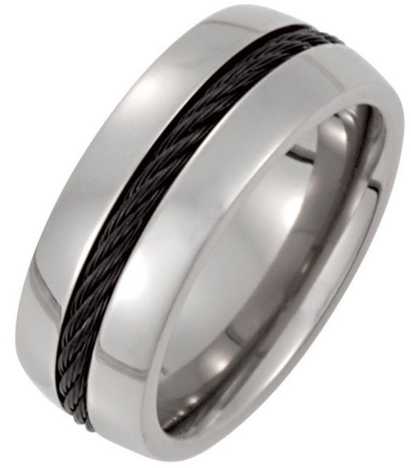 Item # 6610TI - Titanium, 8.0mm wide , comfort fit, black cable in the center, polished wedding band. It is available between size 9.0-13.0 in half size increments.