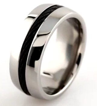 Item # 6610TI View 2 - Titanium Center Cable Wedding Band