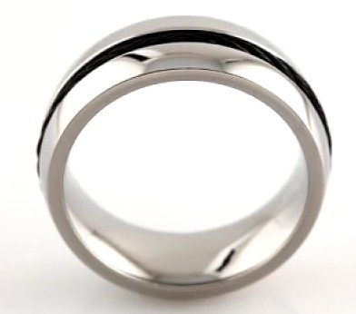 Item # 6610TI View 3 - Titanium Center Cable Wedding Band